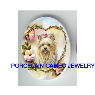 YORKSHIRE DOG ROSE HEART FORGET ME NOT CAMEO PORCELAIN