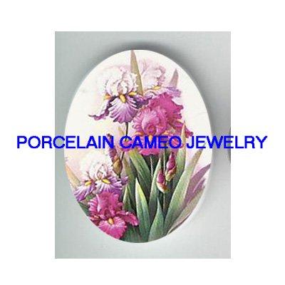 PURPLE IRIS FLOWER * UNSET CAMEO PORCELAIN CABOCHON