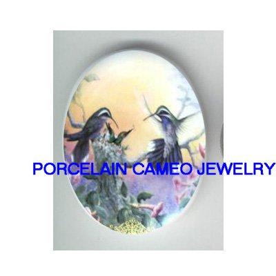 4 HUMMINGBIRD BIRD FAMILY* UNSET CAMEO PORCELAIN CABOCHON