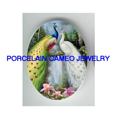 2 PEACOCK BIRD ORCHID WATER FALL UNSET CAMEO PORCELAIN