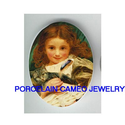 VICTORIAN GIRL PLAY KITTY CAT WITH FEATHER* UNSET CAMEO PORCELAIN CABOCHON
