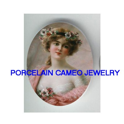 VICTORIAN ROSE LADY IN PINK CAMEO PORCELAIN CAMEO CABO