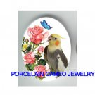 COCKATOO BIRD ROSE BUTTERFLY CAMEO PORCELAIN 18X25MM