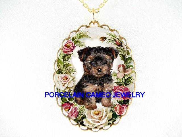 : TEACUP YORKSHIRE DOG ROSE PORCELAIN CAMEO NECKLACE