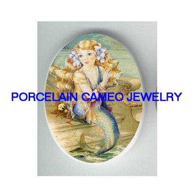 VICTORIAN FLORAL MERMAID BY THE SEA * UNSET CAMEO PORCELAIN CABOCHON