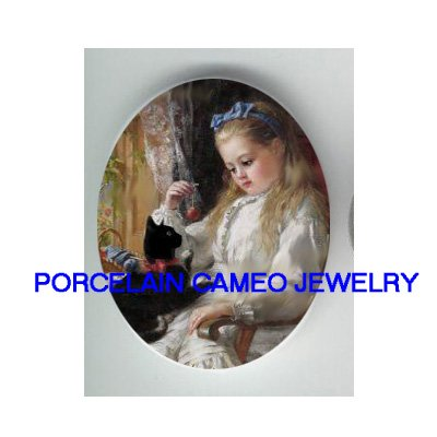 VICTORIAN GIRL PLAYING WITH BLACK KITTY CAT* UNSET CAMEO PORCELAIN CABOCHON