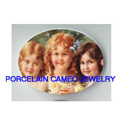 3 VICTORIAN GIRL SISTERS WITH ROSE CAMEO PORCELAIN CABO