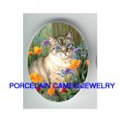 BLUE EYES GREY CAT WITH FLOWER UNSET CAMEO PORCELAIN CABOCHON