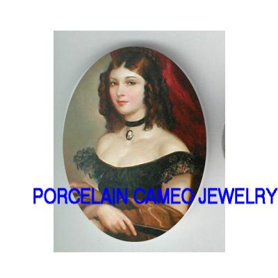 VICTORIAN LADY CAMEO NECKLACE  FAN UNSET CAMEO PORCELAIN CABOCHON