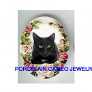 GREEN EYES BLACK CAT ROSE UNSET* UNSET CAMEO PORCELAIN CABOCHON