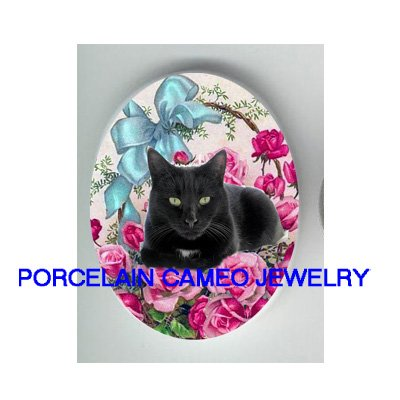GREEN EYES BLACK CAT RIBBON ROSE UNSET* UNSET CAMEO PORCELAIN CABOCHON