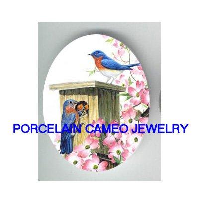 BLUEBIRD FAMILY BABY BIRDHOUSE DOGWOOD * UNSET CAMEO PORCELAIN CABOCHON