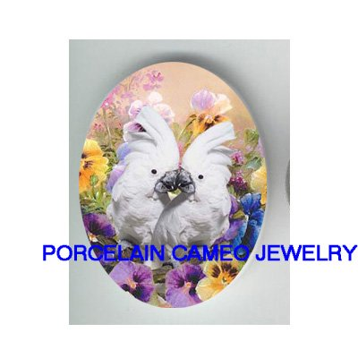 2 KISSING COCKATOO BIRD PANSY* UNSET CAMEO PORCELAIN CABOCHON 18x25MM