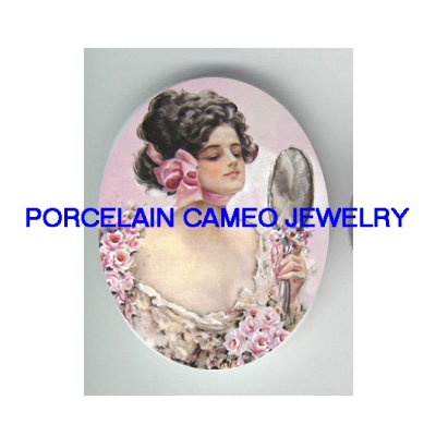 VINTAGE PINK ROSE BRIDE WITH MIRROR * UNSET CAMEO PORCELAIN CABOCHON