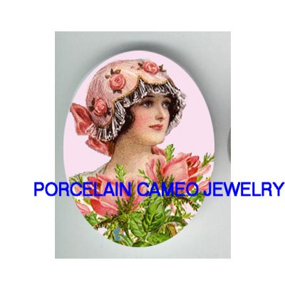ART DECO PINK ROSE HAT FLAPPER LADY * UNSET CAMEO PORCELAIN CABOCHON