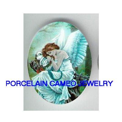 ALPHONSE MUCHA BLUE SLEEPING ANGEL  * UNSET CAMEO PORCELAIN CABOCHON