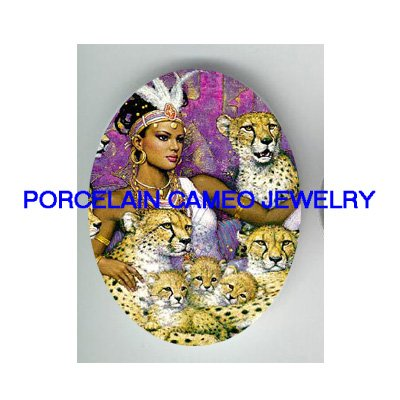 EGYPT QUEEN WITH LEOPARD WILD CAT FAMILY* UNSET CAMEO PORCELAIN CABOCHON