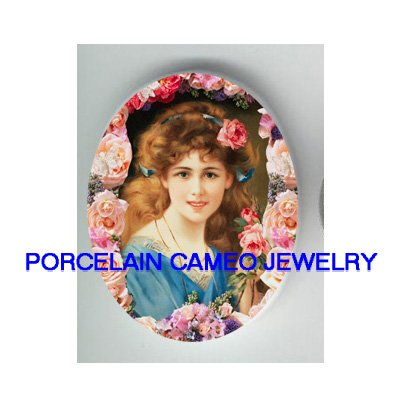 SMILING VICTORIAN LADY WITH ROSE* UNSET CAMEO PORCELAIN CABOCHON