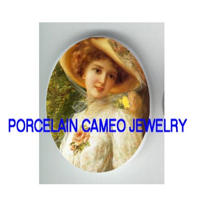 VICTORIAN LADY ROSE BUTTERFLY * UNSET CAMEO PORCELAIN CABOCHON