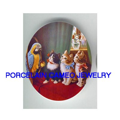 PARROT MACAW BIRD 3 VICTORIAN KITTY CAT CAMEO PORCELAIN