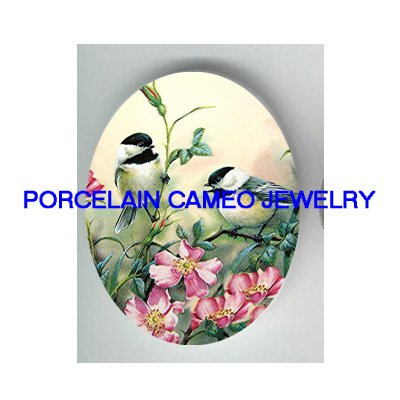 2 CHICKADEE BIRD WITH WILD ROSE * UNSET CAMEO PORCELAIN CABOCHON
