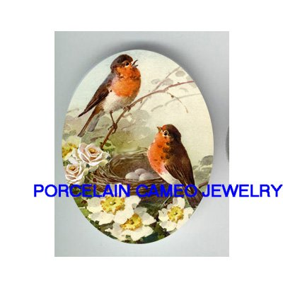 2 ROBIN FAMILY BIRD EGG NEST ROSE * UNSET CAMEO PORCELAIN CABOCHON
