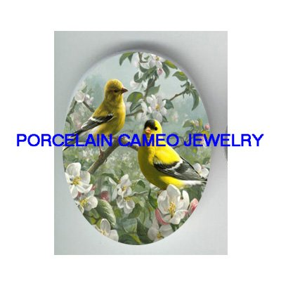 2 GOLDFINCH BIRD WITH APPLE BLOSSOMS * UNSET CAMEO PORCELAIN CABOCHON
