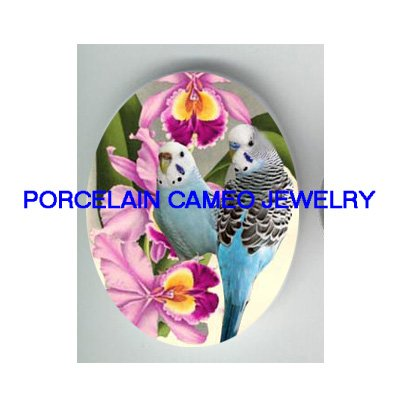 2 PARAKEET BUDGIE BIRD WITH ORCHID * UNSET CAMEO PORCELAIN CABOCHON
