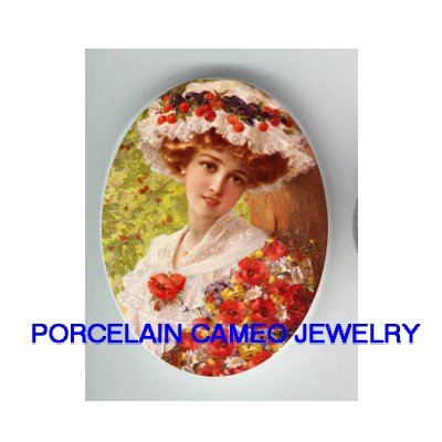 VICTORIAN POPPY DAISY LADY BERRY HAT * UNSET CAMEO PORCELAIN CABOCHON