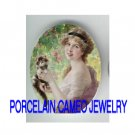 VICTORIAN LADY HOLDING KITTY CAT ROSE  * UNSET CAMEO PORCELAIN CABOCHON