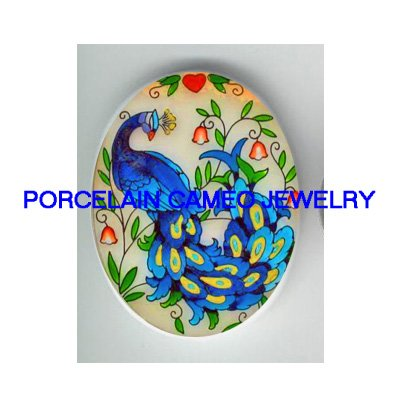 PEACOCK BIRD WITH LILY OF THE VALLEY CAMEO PORCELAIN
