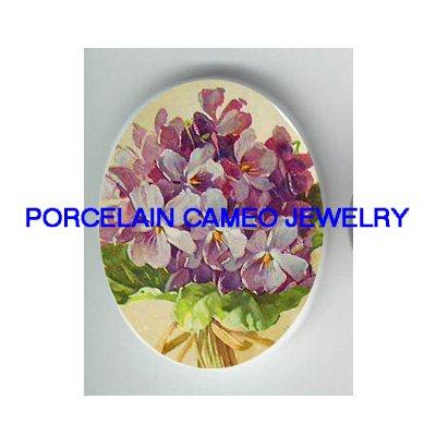VICTORIAN PURPLE VIOLET FLOWER CAMEO PORCELAIN CABOCHON