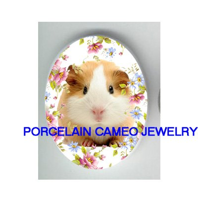 GUINEA PIG WITH ROSE AND DAISY* UNSET CAMEO PORCELAIN CABOCHON