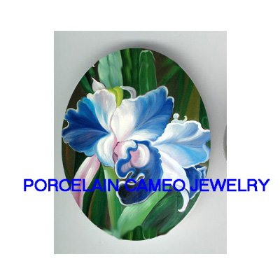 ARE BLUE WHITE ORCHID FLOWER * UNSET CAMEO PORCELAIN CABOCHON