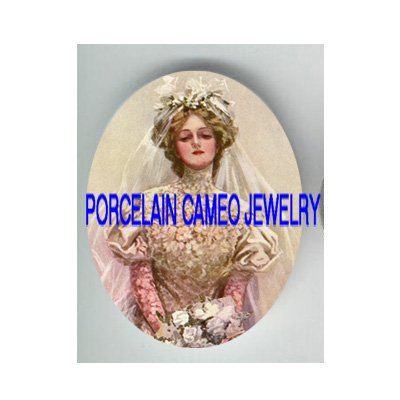 VINTAGE BRIDE WITH ROSE* UNSET CAMEO PORCELAIN CABOCHON