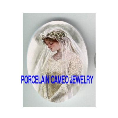 VINTAGE BRIDE IN PRAYING UNSET CAMEO PORCELAIN CABOCHON