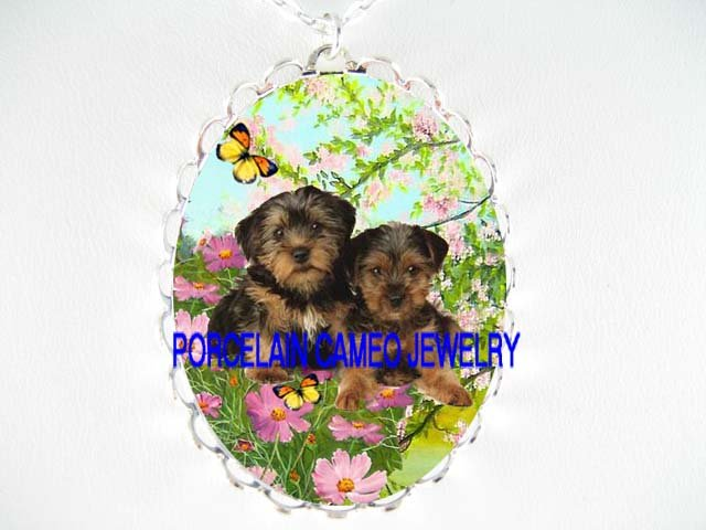 2 YORKSHIRE TERRIER PUPPY DOG CHERRY BLOSSOMS BUTTERFLY *  CAMEO PORCELAIN NECKLACE