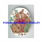 3 RABBIT BUNNY FAMILY STRAWBERRY * UNSET CAMEO PORCELAIN CABOCHON