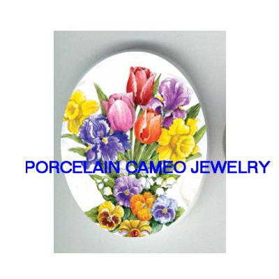 VICTORIAN TULIPS DAFFODIL LILY OF THE VALLEY PANSY  * UNSET CAMEO PORCELAIN CABOCHON