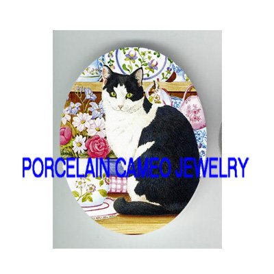 BLACK AND WHITE CAT ROSE  * UNSET CAMEO PORCELAIN CABOCHON
