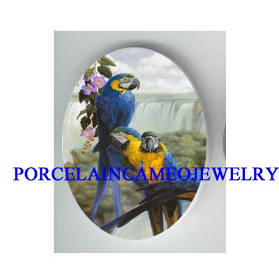 3 BLUE MACAW PARROT BIRD COLLAGE WATERFALL* UNSET CAMEO PORCELAIN 18X25MM CABOCHON