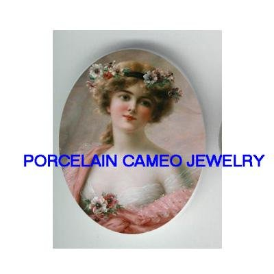 VICTORIAN ROSE LADY IN PINK CAMEO PORCELAIN CAMEO 18X25