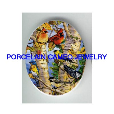 5 CARDINAL BLUEBIRD CHICKADEE BIRD COLLAGE * UNSET CAMEO PORCELAIN CABOCHON