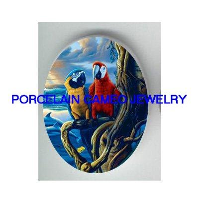 2 MACAW PARROT BIRD OCEAN * UNSET CAMEO PORCELAIN CABOCHON