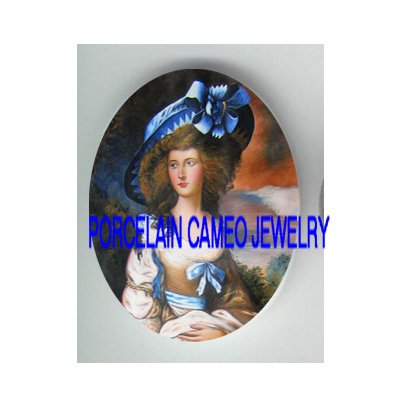 VICTORIAN LADY WITH BLUE RIBBON HAT* UNSET CAMEO PORCELAIN