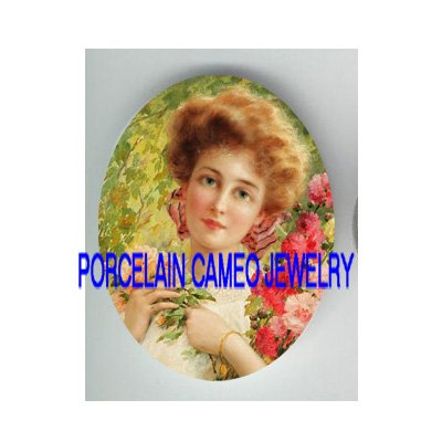 VICTORIAN LADY HOLDING ROSE* UNSET CAMEO PORCELAIN CABOCHON