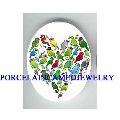 BIRD COLLAGE HEART Parrots, Parakeets, Macaws Cockatiels, Conures & Cockatoos CAMEO PORCELAIN