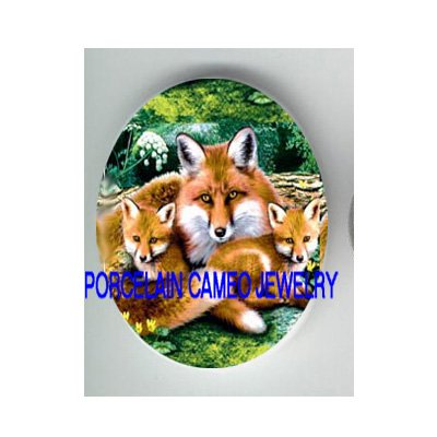3 RED FOX FAMILY MOM BABY CUBS * UNSET CAMEO PORCELAIN CABOCHON