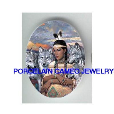 INDIAN PRINCESS WITH 3 GREY WOLF * UNSET CAMEO PORCELAIN CABOCHON