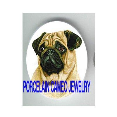 CUTE SWEET PUG DOG * UNSET CAMEO PORCELAIN CABOCHON